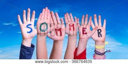 Children Hands Building Word Sommer Means Summer, Blue Sky
