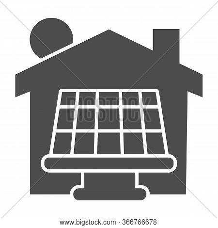 Solar Battery With Sun And House Solid Icon, Smart Home Symbol, Solar Panels Batteries And Green Ene