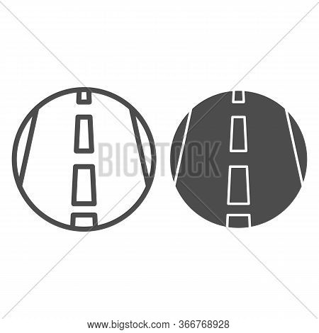 Motorway Line And Solid Icon, Transportation Symbol, Highway Road Vector Sign On White Background, F