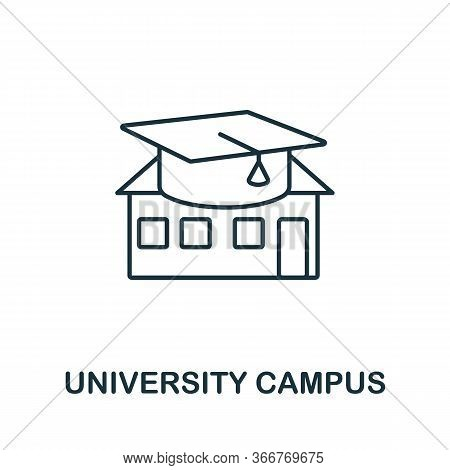 University Campus Icon From Education Collection. Simple Line University Campus Icon For Templates,