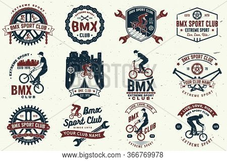 Set Of Bmx Extreme Sport Club Badge. Vector. Concept For Shirt, Logo, Print, Stamp, Tee With Man Rid