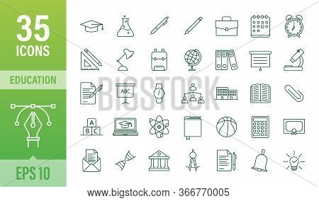 Set Icon Education For Mobile App Design. Online Course Line Icon Set. Online Study, Education. Vect