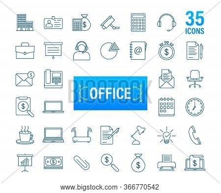 Office Icon. Web Icon Set. Office, Great Design For Any Purposes. Vector Stock Illustration.