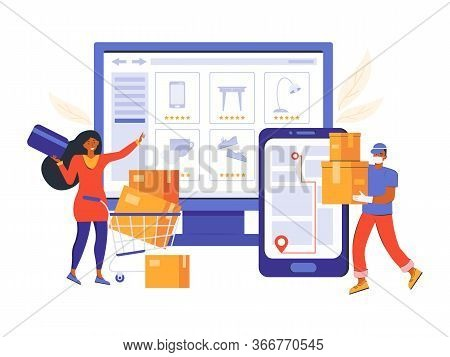 Online Order In An Online Store And Contactless Delivery. Online Shopping And E-commerce. Woman Make