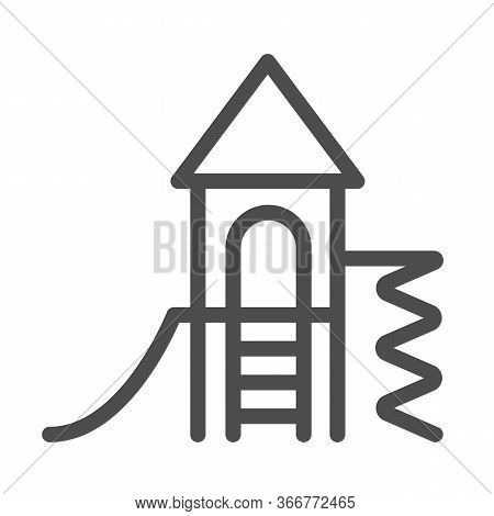 Playground For Children Line Icon, Kindergarten Concept, Play Area For Kids Sign On White Background