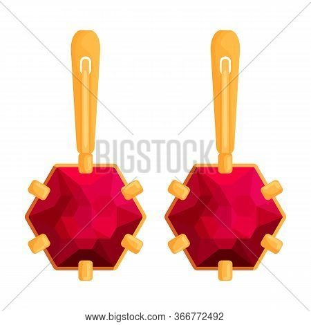 Gold Earrings Vector Icon.cartoon Vector Icon Isolated On White Background Gold Earrings.