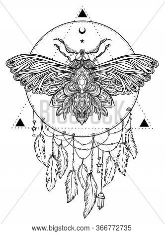 Black And White Butterfly Over Sacred Geometry Sign, Isolated Vector Illustration. Tattoo Sketch. My