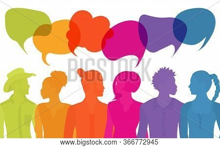 Group Of Diverse Multiethnic People Different Culture Talking Sharing Ideas. Communication People. C