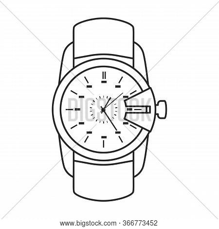 Watch Wrist Vector Icon.outline Vector Icon Isolated On White Background Watch Wrist.