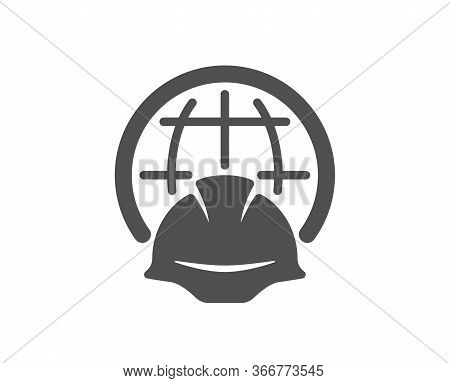 Global Engineering Icon. Engineer Or Architect Helmet Sign. World Construction Symbol. Classic Flat
