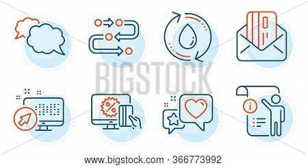 Web System, Refill Water And Credit Card Signs. Heart, Methodology And Online Shopping Line Icons Se