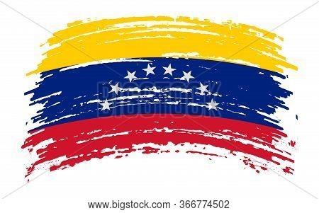 Venezuela Torn Flag In Grunge Brush Stroke, Vector