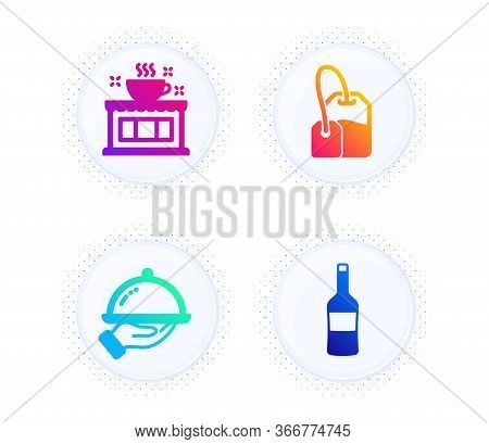 Coffee Shop, Restaurant Food And Tea Bag Icons Simple Set. Button With Halftone Dots. Wine Sign. Tea