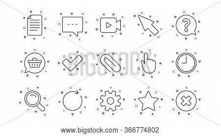 Search, Video Camera And Check Mark. Document, Time And Question Mark Line Icons. Linear Icon Set. G