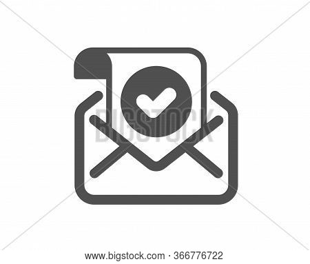 Confirmed Mail Icon. Approved Email Letter Sign. Verified Correspondence Symbol. Classic Flat Style.