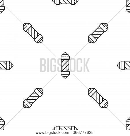 Grey Line Classic Barber Shop Pole Icon Isolated Seamless Pattern On White Background. Barbershop Po