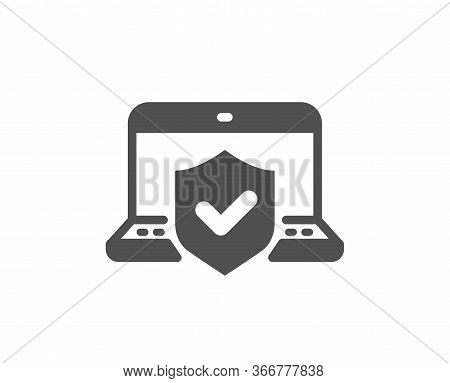 Laptop Insurance Hand Icon. Risk Coverage Sign. Notebook Protection Symbol. Classic Flat Style. Qual