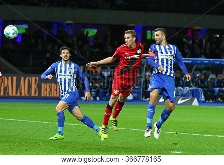 Berlin, Germany - September 20, 2017: Vedad Ibisevic Of Hertha Bsc Berlin (r) Kicks A Ball During Th