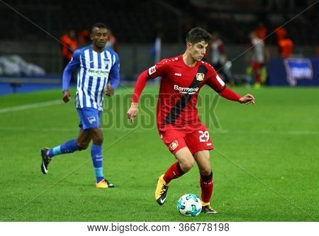 Berlin, Germany - September 20, 2017: Kai Havertz Of Bayer 04 Leverkusen Controls A Ball During The