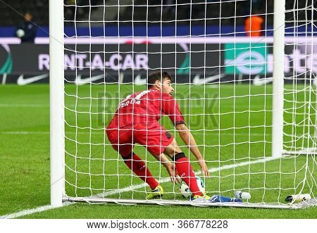 Berlin, Germany - September 20, 2017: Kevin Volland Of Bayer 04 Leverkusen Takes The Ball Out Of The