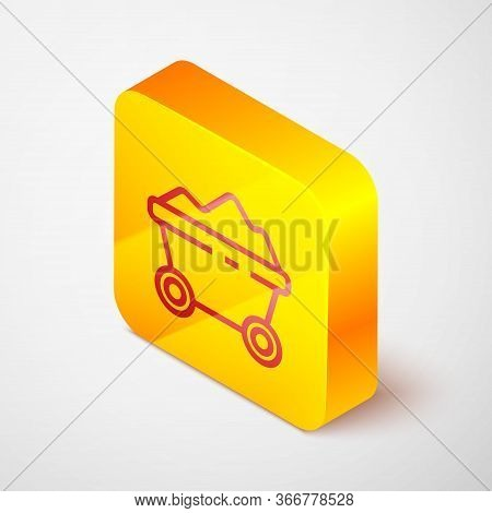 Isometric Line Coal Mine Trolley Icon Isolated On Grey Background. Factory Coal Mine Trolley. Yellow