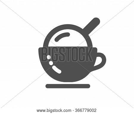 Coffee Cup With Ice Cream Icon. Vanilla Sundae Sign. Frozen Summer Dessert Symbol. Classic Flat Styl