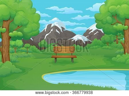 Summer, Spring Day Vector Illustration. Wooden Bench By The Lake With Lush Green Bushes And Trees. G