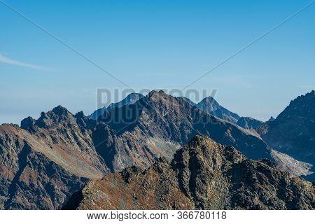Vysoke Tatry Mountain Range With Ladovy Stit, Rysy, Lomnicky Stit And Few Others Peaks In Vysoke Tat