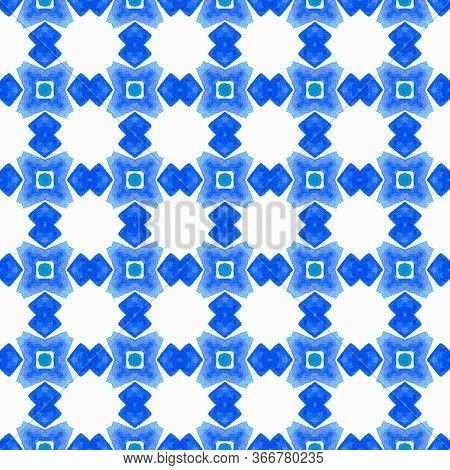 Chevron Watercolor Pattern. Blue Remarkable Boho Chic Summer Design. Green Geometric Chevron Waterco