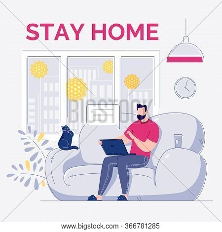 A Freelance Employee Works At Home At A Quiet Pace, At A Convenient Time. Young Modern Man Sitting O