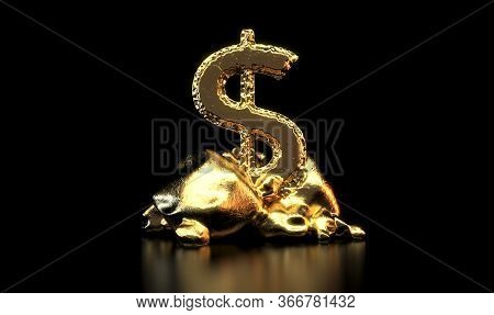 A Lump Of Gold Chiselled Out To Form A Dollar Shape Propped Up By A Stand Of Rough Rocks On An Isola