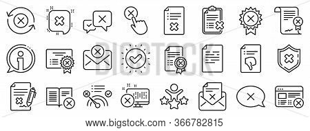 Set Of Decline Certificate, Cancellation And Dislike Icons. Reject Or Cancel Line Icons. Refuse, Rej