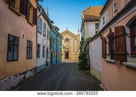 Sighisoara, Romania - July 4, 2016: Bastion Street In Historic Part Of Sighisoara City- View With Ca