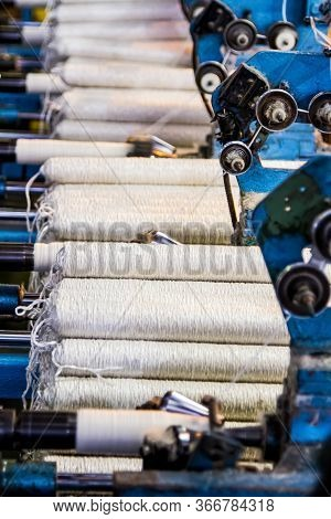Cotton Thread Bobin On A Copwinder Weft Assembly Line Loom