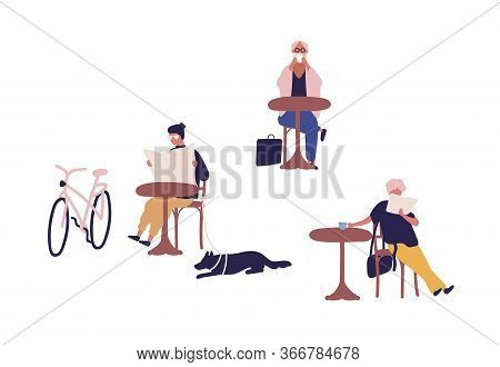 People Spending Time At Street Cafe Vector Flat Illustration. Colorful Man And Woman Sit At Safety D