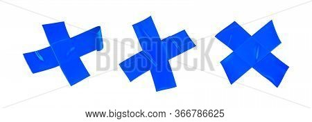 Blue Duct Tape Cross Set. Realistic Blue Adhesive Tape Cross For Fixing Isolated On White Background