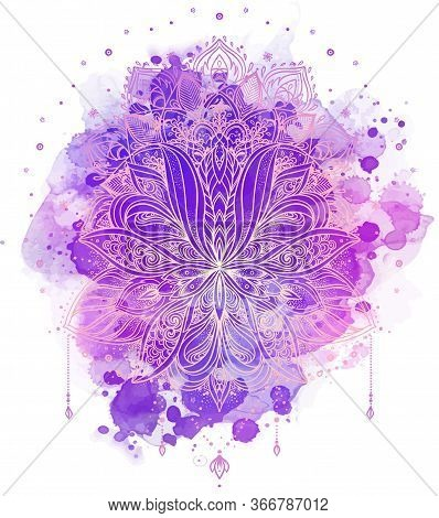 Lotus Inspired Ornate Composition Over Colorful Watercolor Background. Hand Drawn Vintage Style Desi