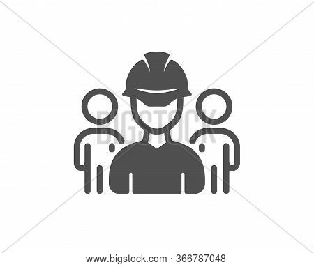 Engineering Team Icon. Engineer Or Architect Group Sign. Construction Helmet Symbol. Classic Flat St