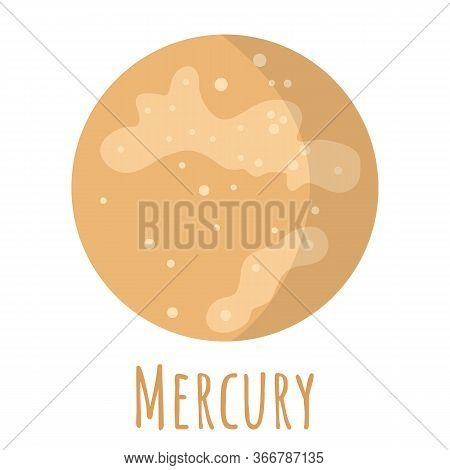 Mercury Planet For Logo, Outer Space, Symbol. Transparent Shadow And Lettering.