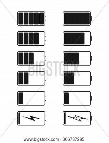Battery Charge And Recharge Icons. Power, Capacity Of Mobile. Smartphone Lithium Charger. High Or Lo
