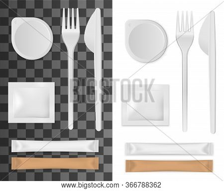 Realistic Disposable Tableware, Salt, Sugar And Napkins Packages Set Isolated 3d Vector Mockup. Empt