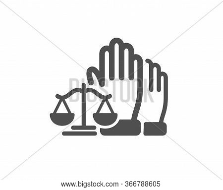 Court Jury Voting Icon. Justice Scales Sign. Judgement Law Symbol. Classic Flat Style. Quality Desig
