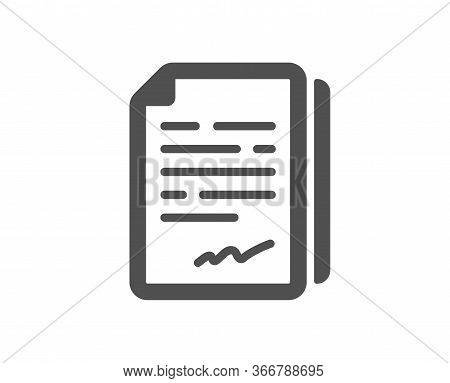 Document Signature Icon. Agreement Doc File Sign. Office Note Symbol. Classic Flat Style. Quality De