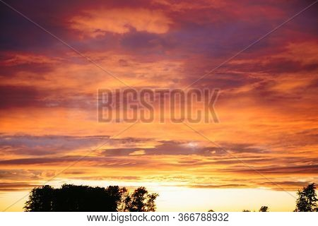 Dramatic Sunset And Sunrise Sky. Sunset And Sunrise Orange And Purple Color Sky Background. Nature B