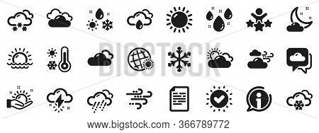 Cloudy Sky, Winter Snowflake, Thermometer. Weather And Forecast Icons. Moon Night, Rain And Sunset I