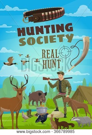 Hunter With Rifle, Dog, Animals And Tent In Forest Camp. Hunting Season Opening, Cartoon Vector. Dee