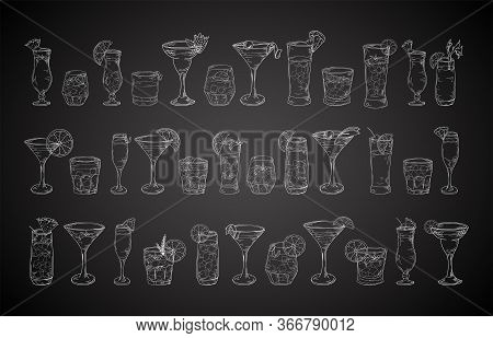 Cocktail Drinks Set In Different Glass In Hand Drawn Sketch Style. Alcoholic Drinks In Glasses In Vi