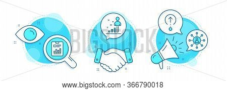 Stats, Networking And Report Document Line Icons Set. Handshake Deal, Research And Promotion Complex