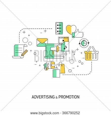 Adverting And Promotion Concept. Vector Illustration For Website, App, Banner, Etc.