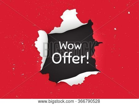 Wow Offer. Ragged Hole, Torn Paper Banner. Special Sale Price Sign. Advertising Discounts Symbol. Pa